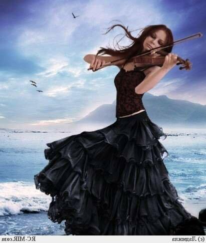 """Предпросмотр - Схема вышивки  """"Играющая на скрипке.  - Схемы автора  """"Sineglazka """" - Вышивка крестом."""