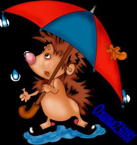 ежик с зонтиком
