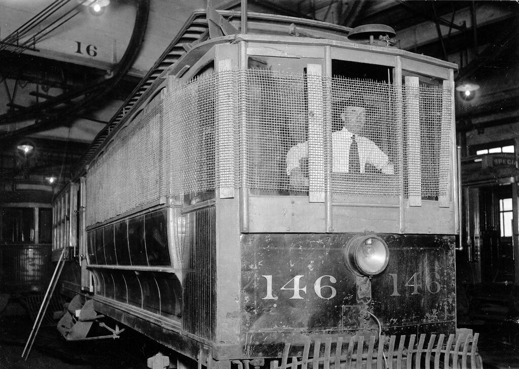 Denver Tramway Company trolley number 146 with screens, parked inside the garage in Denver, Colorado,  probably during the Denver Tramway strike, 1920