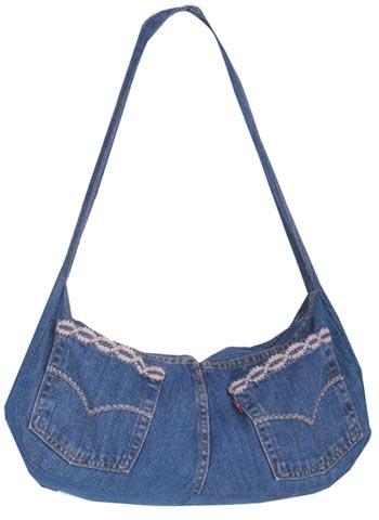 Как сшить сумку из старых джинсов.