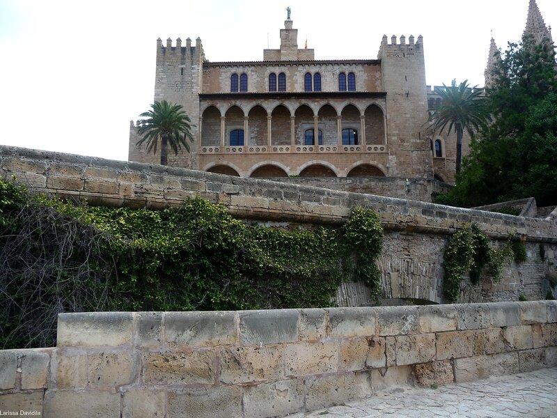 Вид на дворец и крепостную стену.