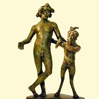 Античная скульптураРимская бронзовая фигура, II в. до н.э.Париж, Лувр, Вакх и пан