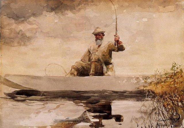 У.Хомер Рыбалка на озере Adirondack 1889 г.