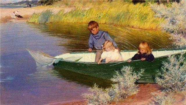 Чарльз Кортни Курран Детская рыбалка 1897 г.