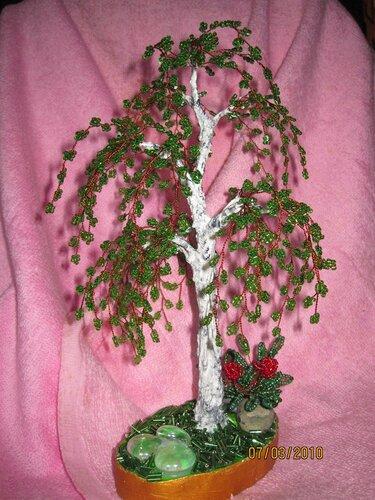 деревья из бисера и натуральных камней. дерево из бисера. берёзка. бисероплетение.