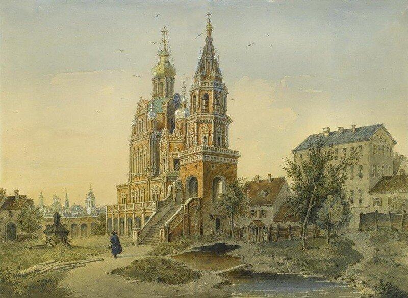 Церковь Успения на Покровке (вид со двора в конце XVIII века ).
