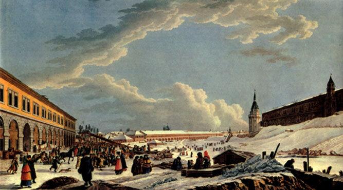 Катание с ледяных гор на масленой неделе на Неглинке. Раскрашенная гравюра по рисунку Делабарта