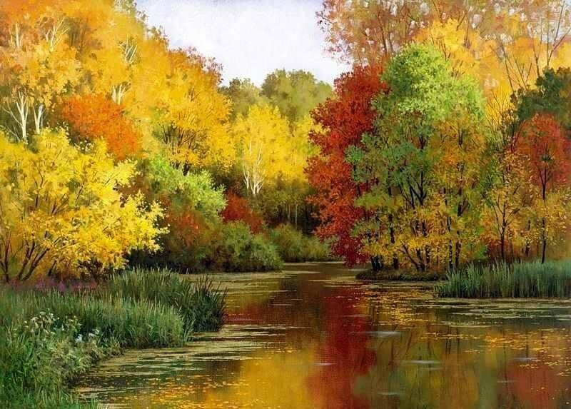 Олег Щербаков. Разбросала  Осень  краски щедро, приступая к колдовству.