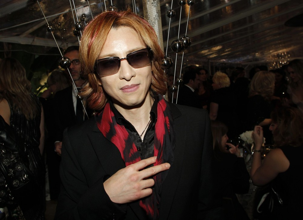 Yoshiki from rock band X Japan poses inside HBO after party following the 69th annual Golden Globe Awards in Beverly Hills
