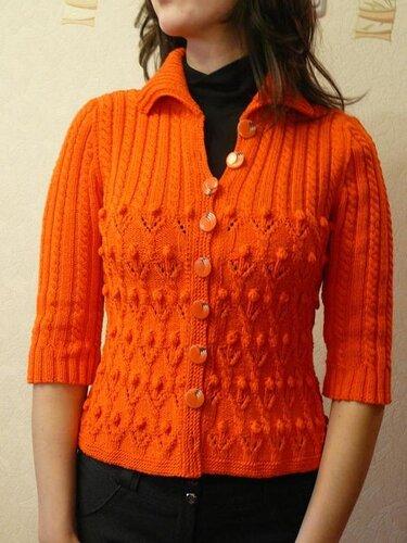 0 4577a 2cff3c86 L Оранжевый жакет, вязаный спицами