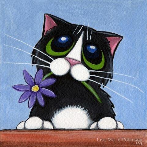 кот цветок