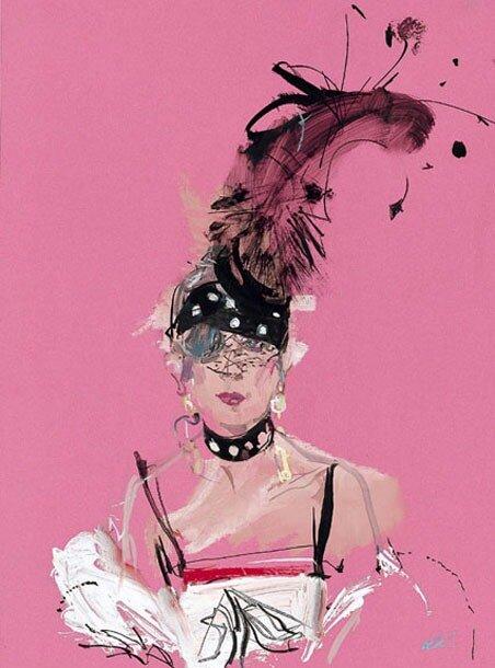 fashion illustrations by David Downton. Anna Piaggi