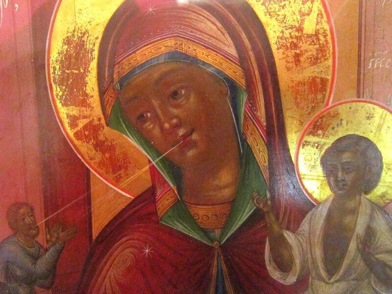 """Икона Божией Матери """"Нечаянная Радость"""". Фрагмент. Первая треть XIX века."""