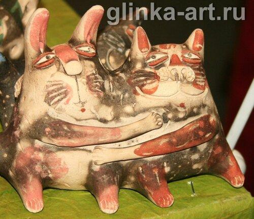 glinka-art.ru, Наташа Павлихина, кот, кошка, кошки, кролик, зайцы, глина, обварка, авторская керамика