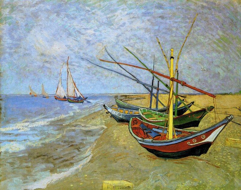 """Предпросмотр - Схема вышивки  """"Лодки в сен-мари. вангог """" - Схемы автора  """"pushara """" - Вышивка крестом."""