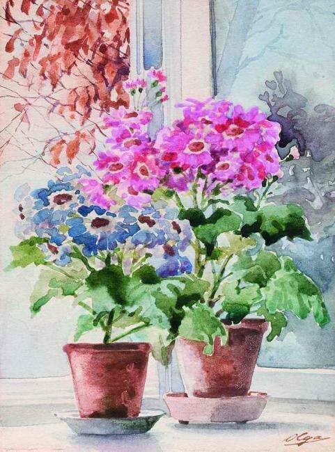 Великая княгиня Ольга Александровна Романова (1882 – 1960)  «Цветы на окне», 1930-е гг.