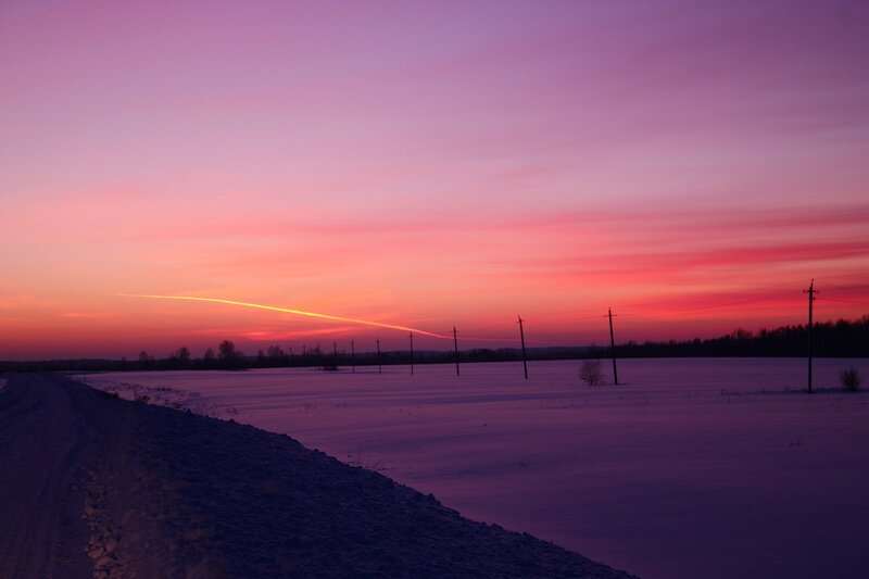розовый закат, розовый вечер