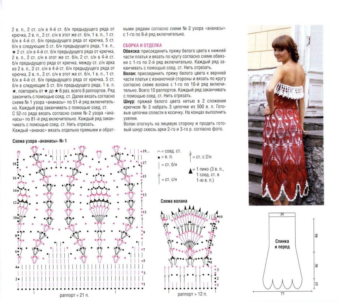 летние платья крючком схемы
