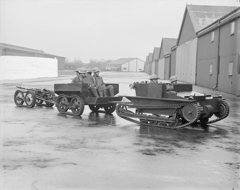 Carden-Loyd Mk VI Mortar Carrier with experimental tracked trailer and towed 1 pounder Oerlikon anti-tank gun