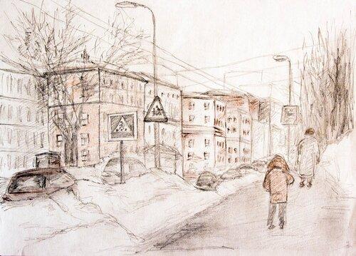 Улица с людьми рисунки карандашом для