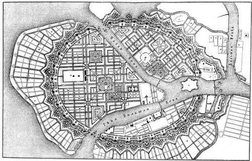Карта-проект Санкт-Петербурга, 1717 г.
