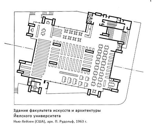 Здание факультета искусств и архитектуры Йелского университета, план, архитектор П.Рудольф