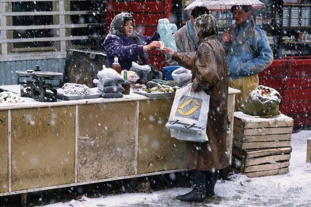 Produce Stand in Moscow Snow
