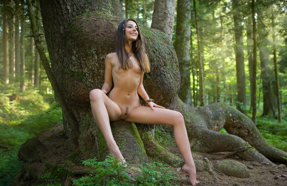 Nude cartoon dryad nude female