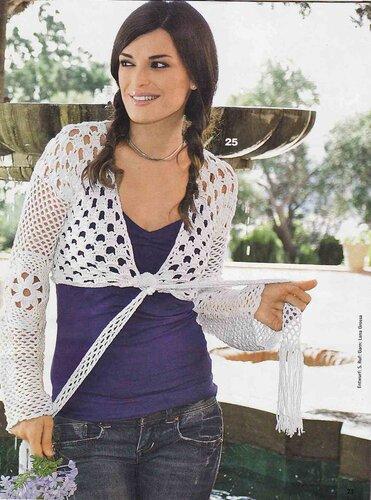 Белое болеро вязание крючком Размеры: 38/40 (42/44) Вам потребуется: 300 (350) г белой пряжи Elastico (96% хлопка...
