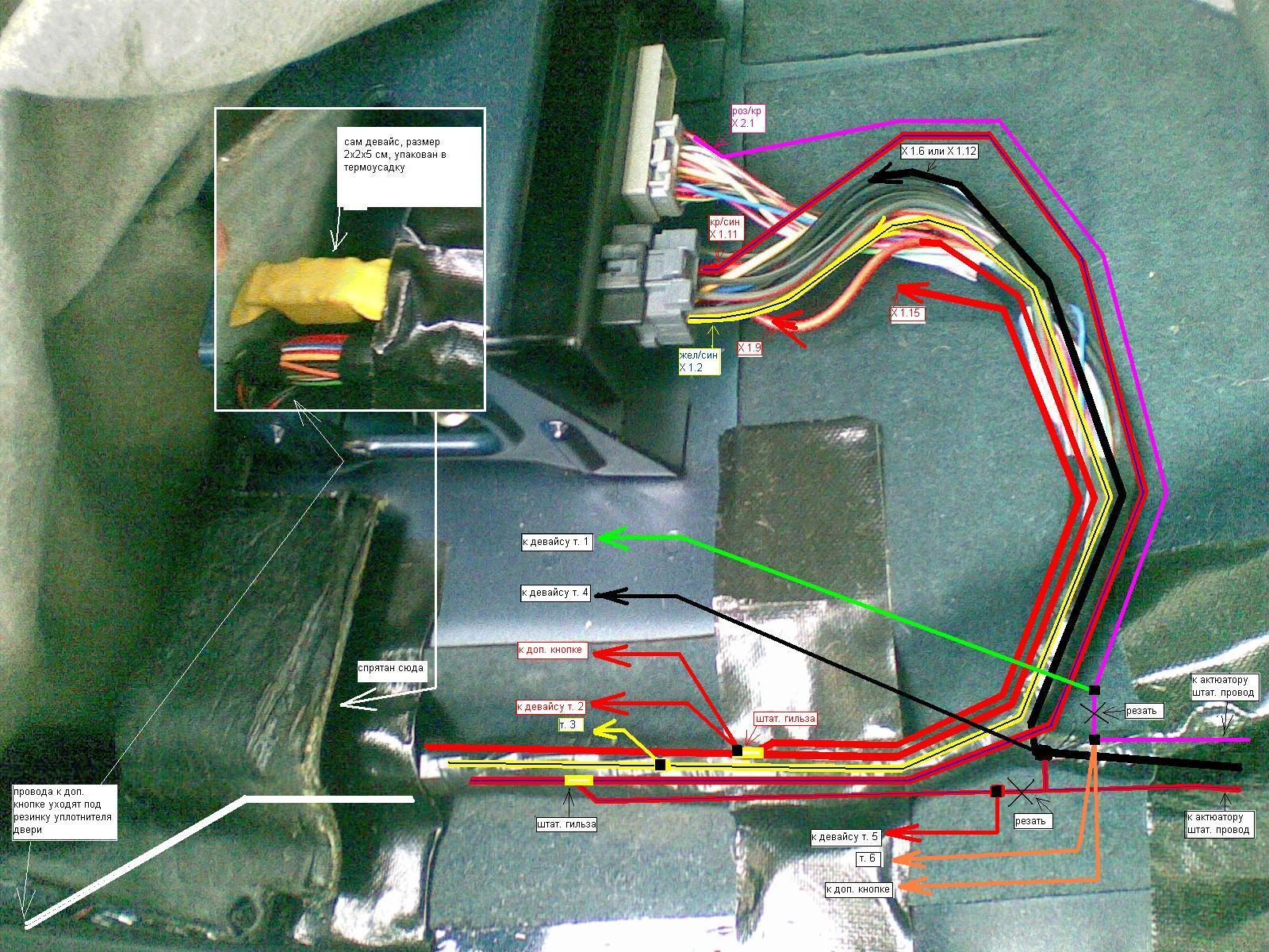 лада калина схема управления центрального замка