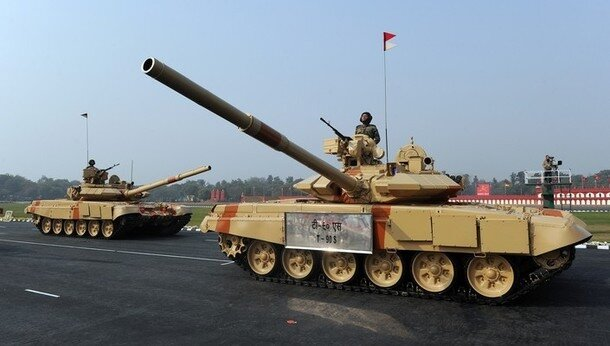 An Indian Army T-90 tank is displayed du