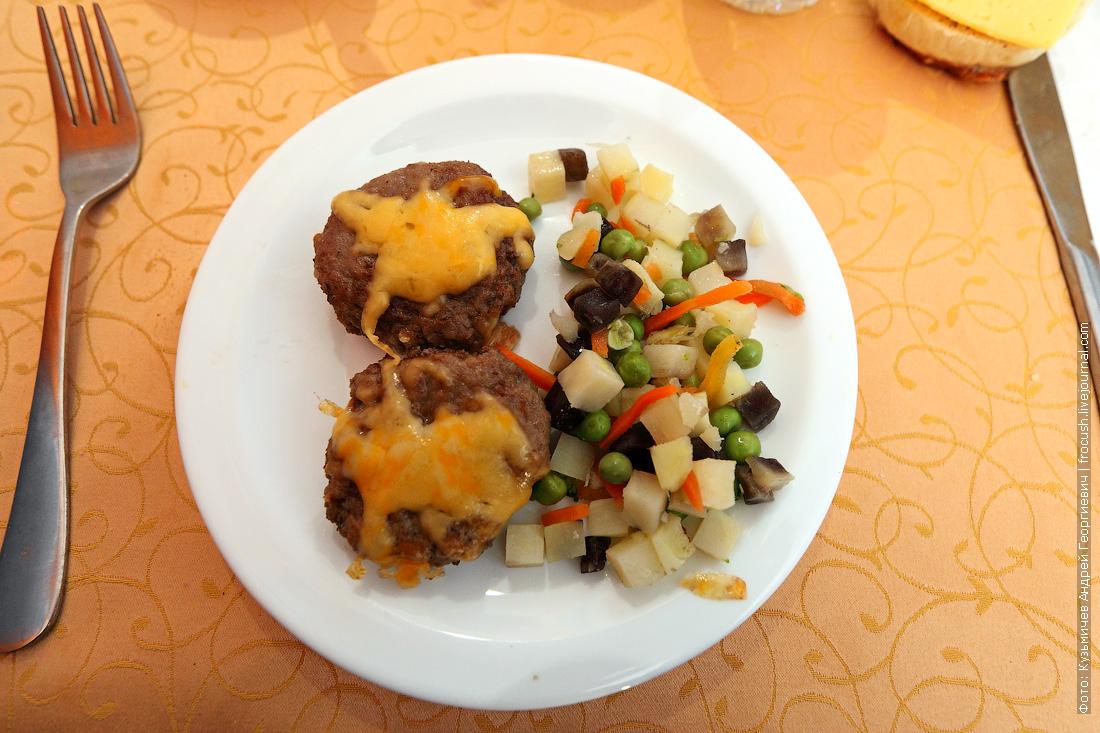 чем кормят на теплоходе Биточки под сырной корочкой с овощами