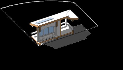 Разрез. Гостиная несущие конструкции, проект сблокированного модульного дачного жилого дома с остекленной террасой