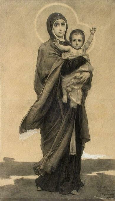 Виктор Михайлович Васнецов. Богородица Владимирского собора. Эскиз. 1893-1895