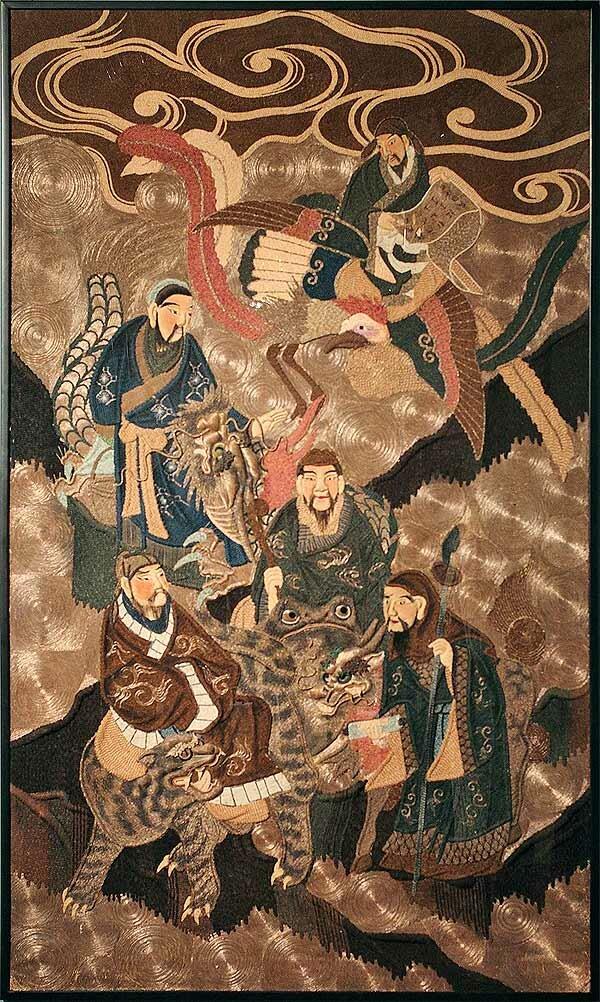 панно «Даосские мудрецы». Япония, кон. XIX в.