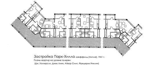 Застройка Парк-Хилла, план квартир на уровне галереи