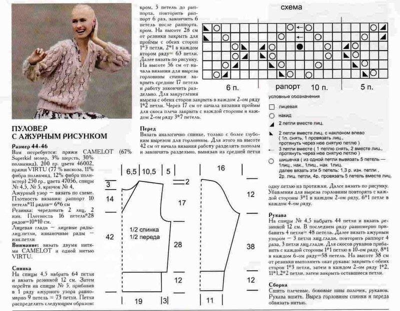 Схема вязания модного свитера спицами 74