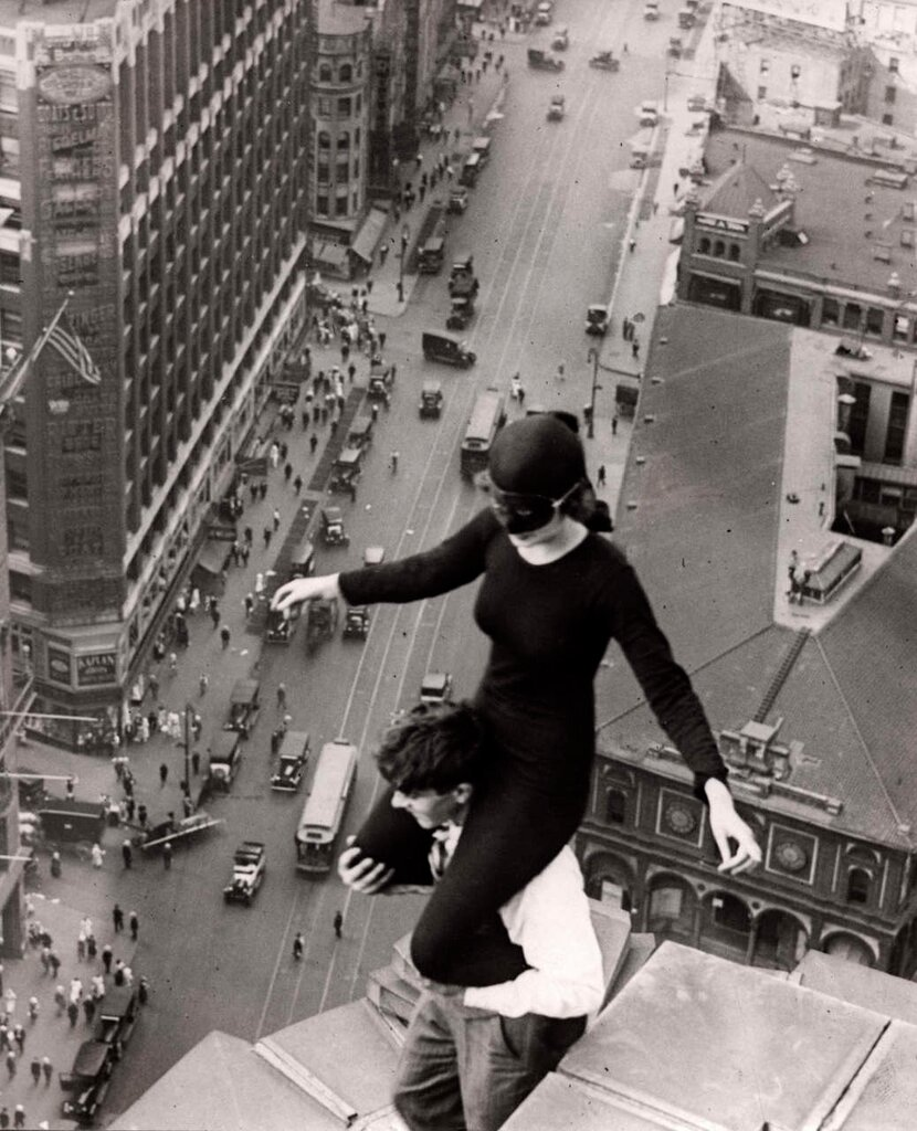 Acrobats on the roof of a skyscraper. Los Angeles, 1921