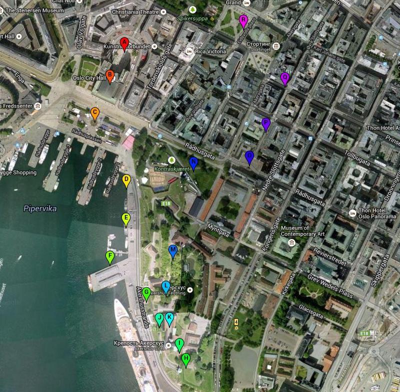 Маршрут прогулки по Осло и крепости Акерсхус