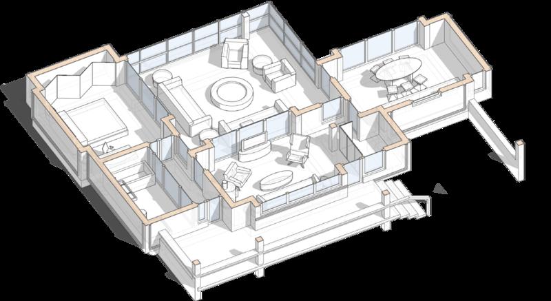 Разрез, проект сблокированного модульного дачного жилого дома с остекленной террасой