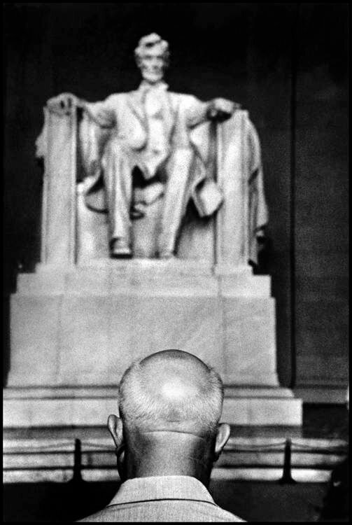 Washington D.C. 1959. Nikita Khrushchev in front of the Lincoln Memorial.