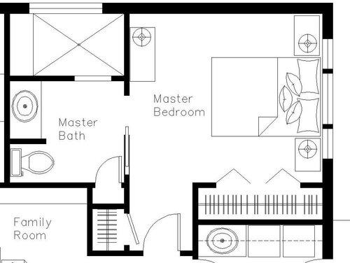 План спальни и ванной с расстановкой мебели