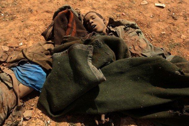 The dead bodies of African teenagers mem