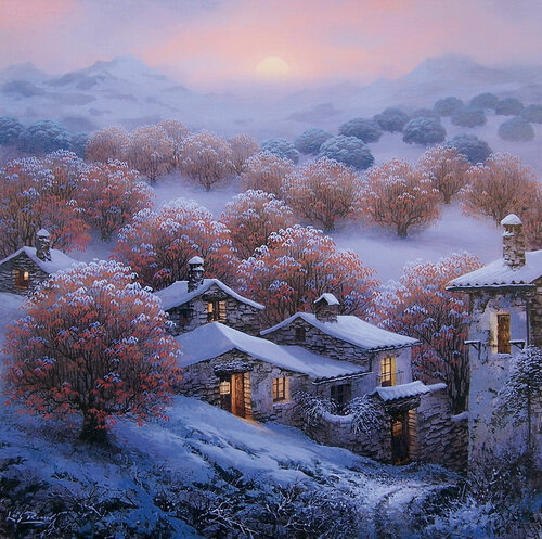 Nieve en los castanos. Автор работы- Luis Romero. Изображение из интернета.