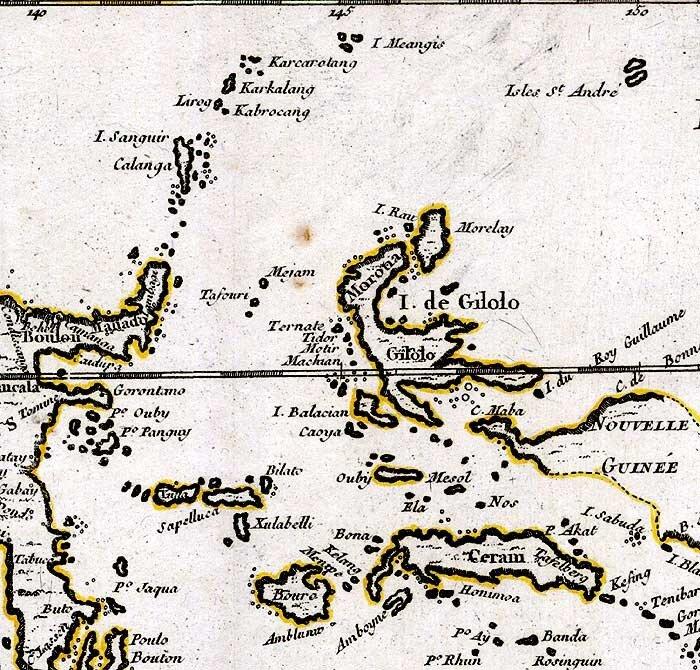 Молукки: карта 1748