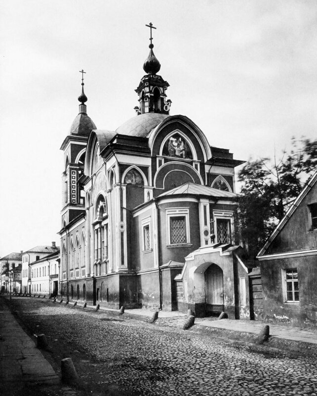 Вид церкви Николы Мокрого со стороны Мокринского переулка. 1884.