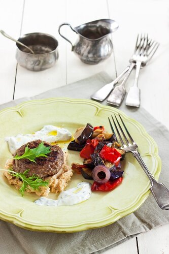 Burgers with roasted eggplant & capsicum & minted yoghurt