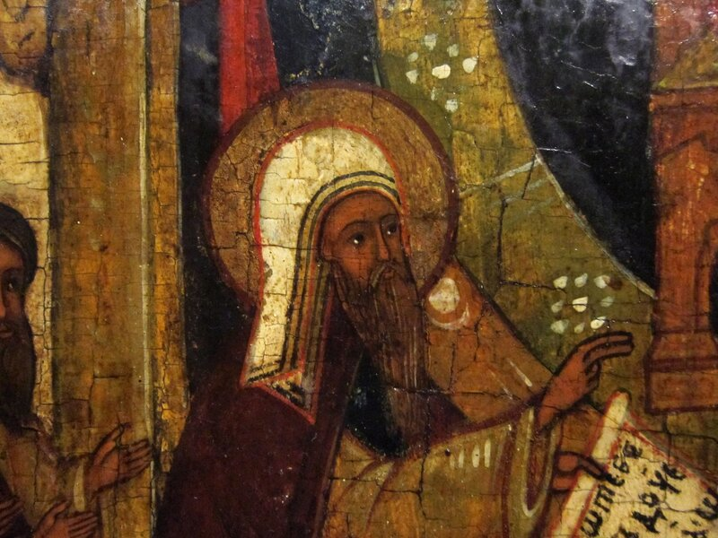 О Тебе радуется. Вторая половина XVI века. Средняя Русь. Фрагмент. Святой Преподобный Иоанн Дамаскин.