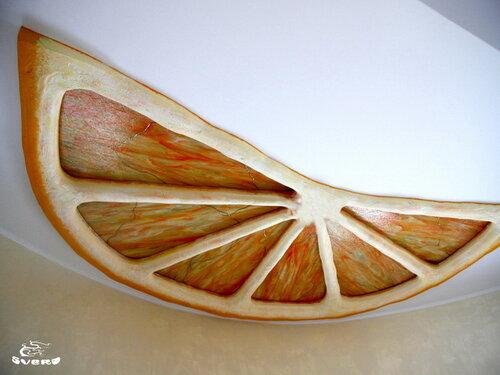 """""""апельсин"""" потолок в столовой, барельеф, лепка, подсветка, витражи"""