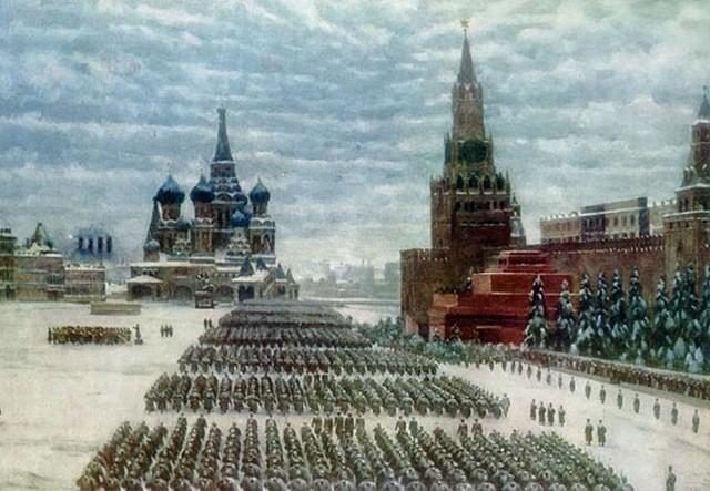 Парад 7 ноября 1941 года. Организованный в честь 24-й годовщины Октябрьской революции открытки фото рисунки картинки поздравления